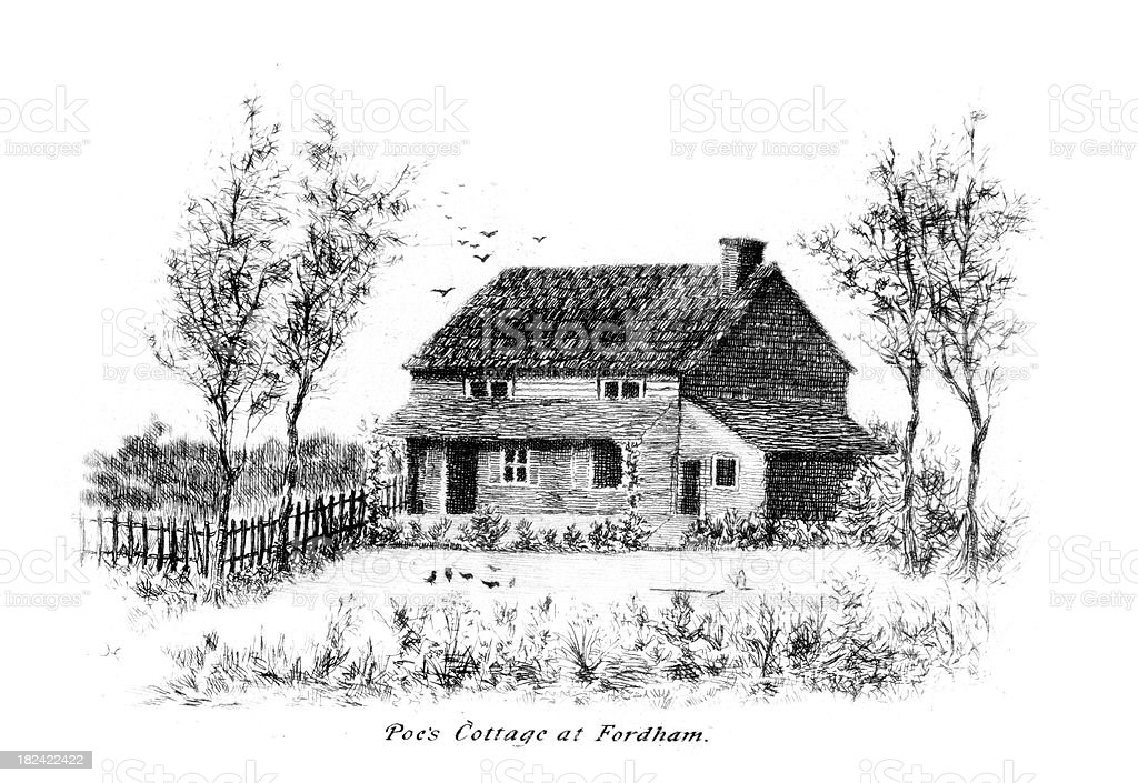Edgar Allan Poe's Cottage at Fordham vector art illustration