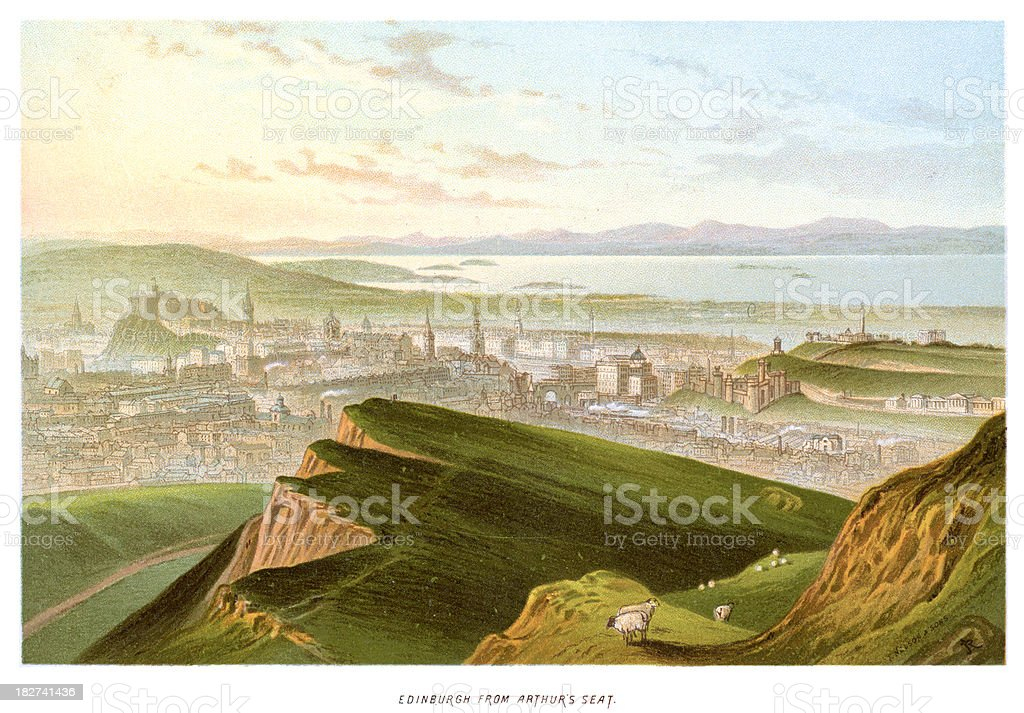 Edinburgh from Arthur's Seat royalty-free stock vector art