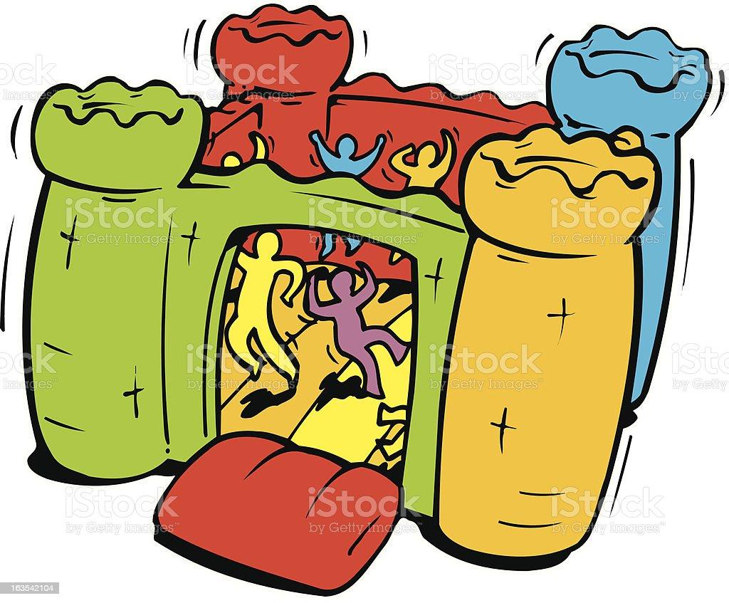 Editable Vector illustration of bouncy castle royalty-free stock vector art