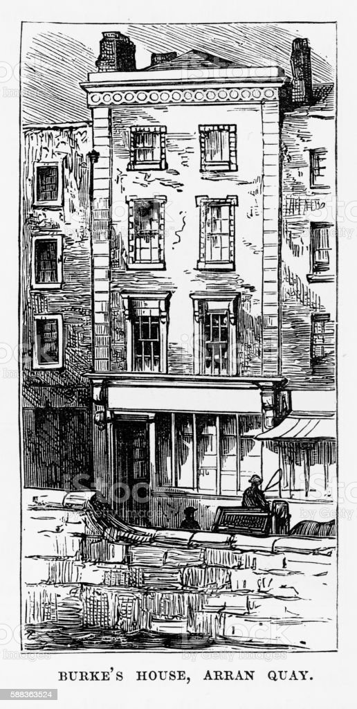 Edmund Burke Home in Dublin, Ireland Victorian Engraving, Circa 1840 vector art illustration