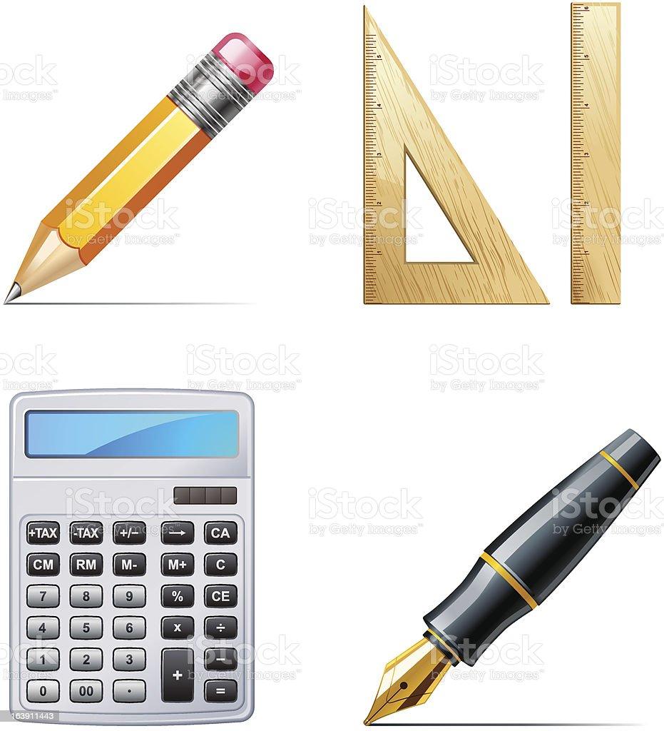 Education icons. Pencil, pen, calculator, ruler royalty-free stock vector art
