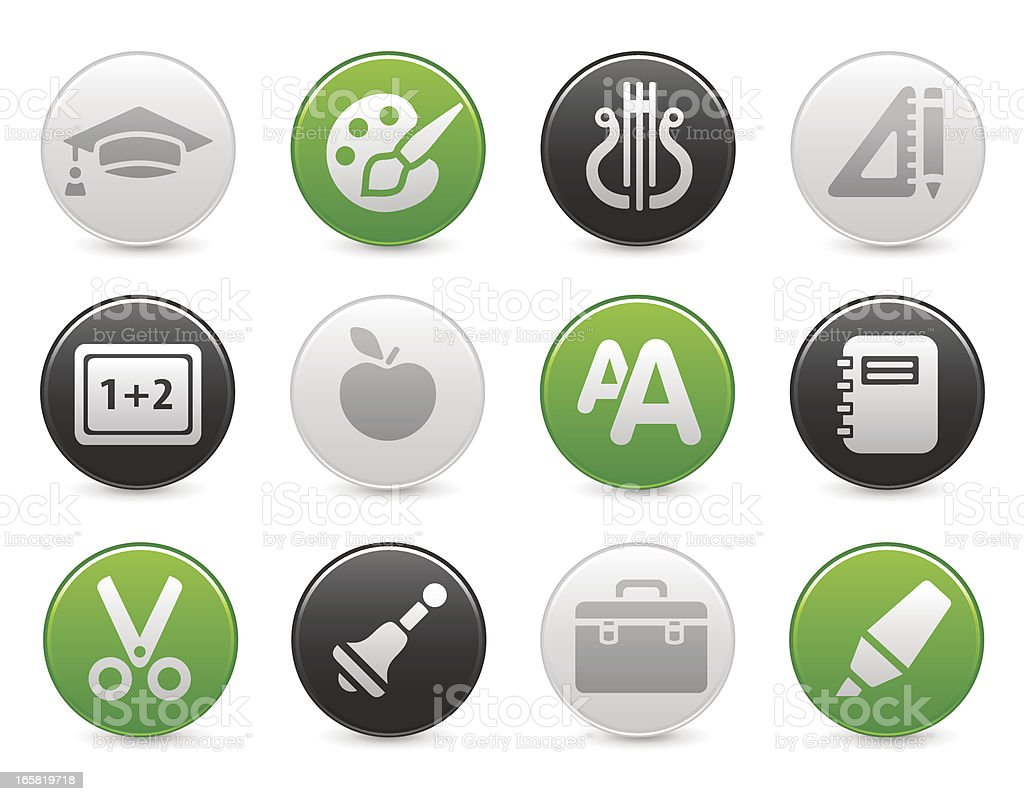 Education icons | Satin round buttons royalty-free stock vector art