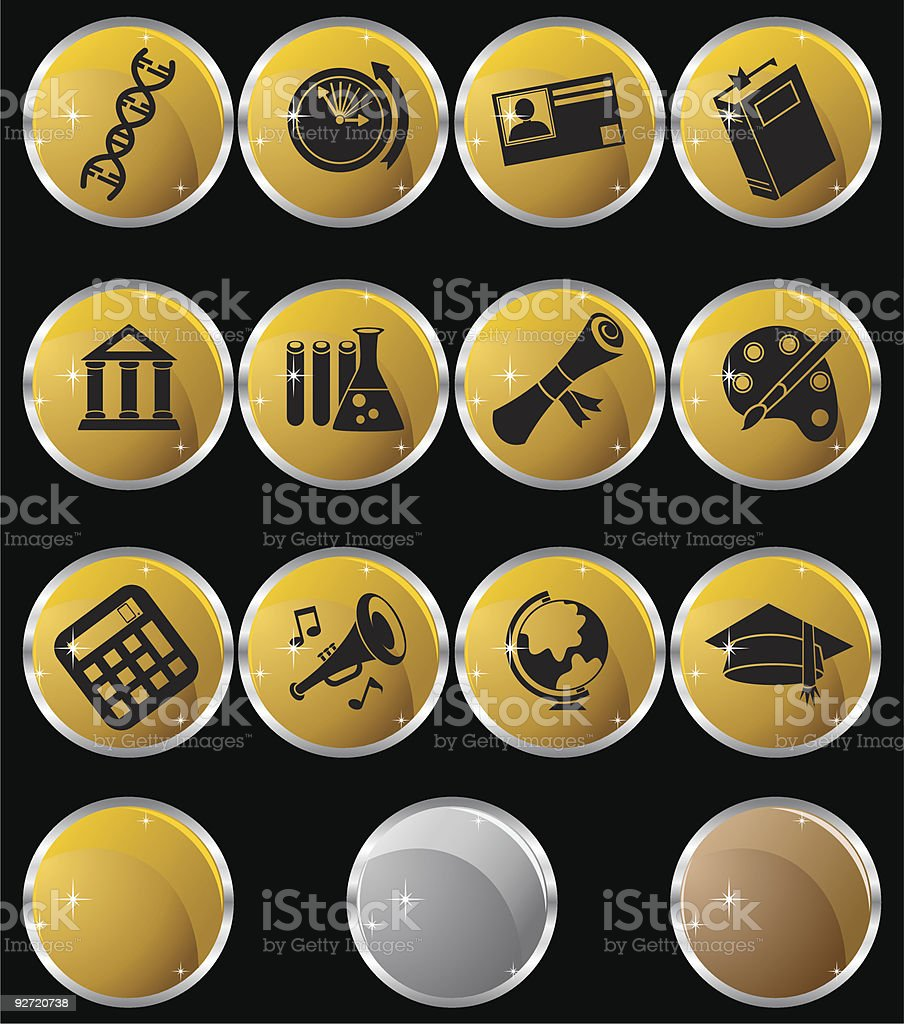 Education Metallic Round royalty-free stock vector art