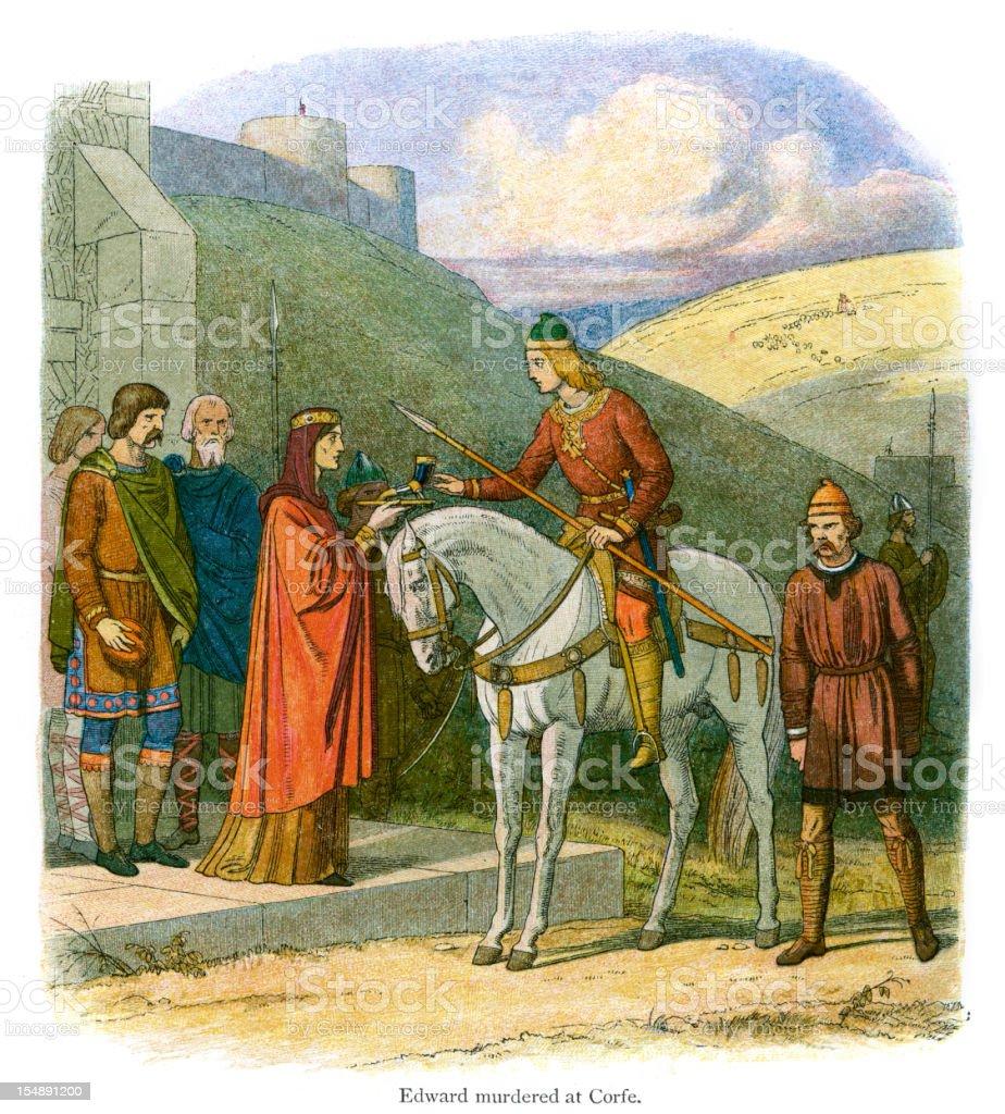 Edward murdered at Corfe Castle vector art illustration