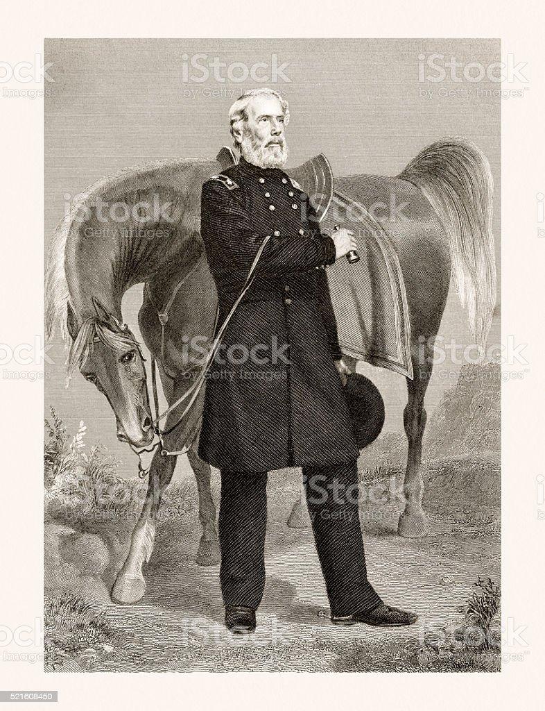 Edwin Vose Sumner, 19 century portrait vector art illustration