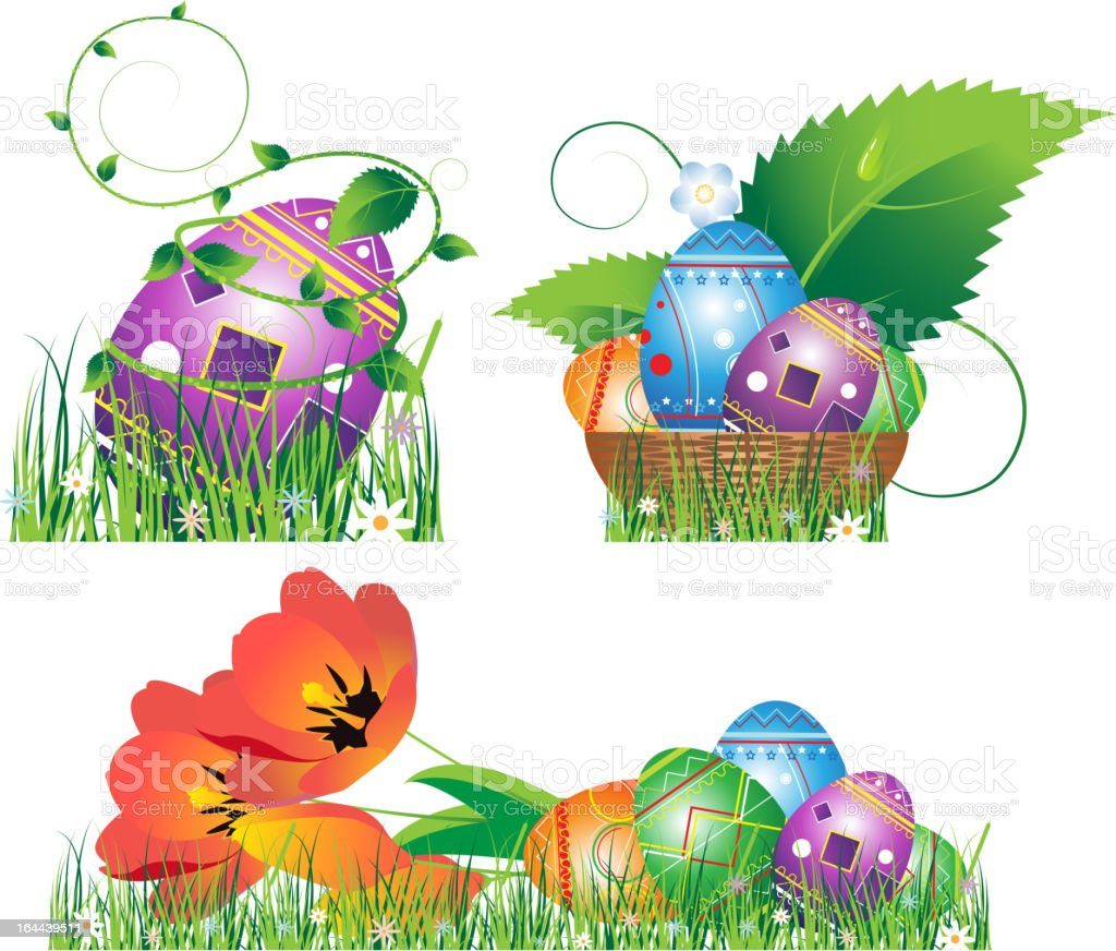 Egg, tulip, basket, grass isolated on white royalty-free stock vector art