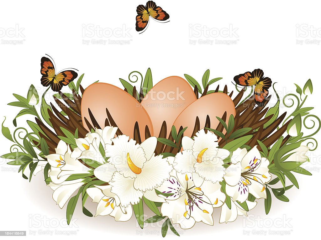 Eggs in nest with flowers. Vector Easter card royalty-free stock vector art