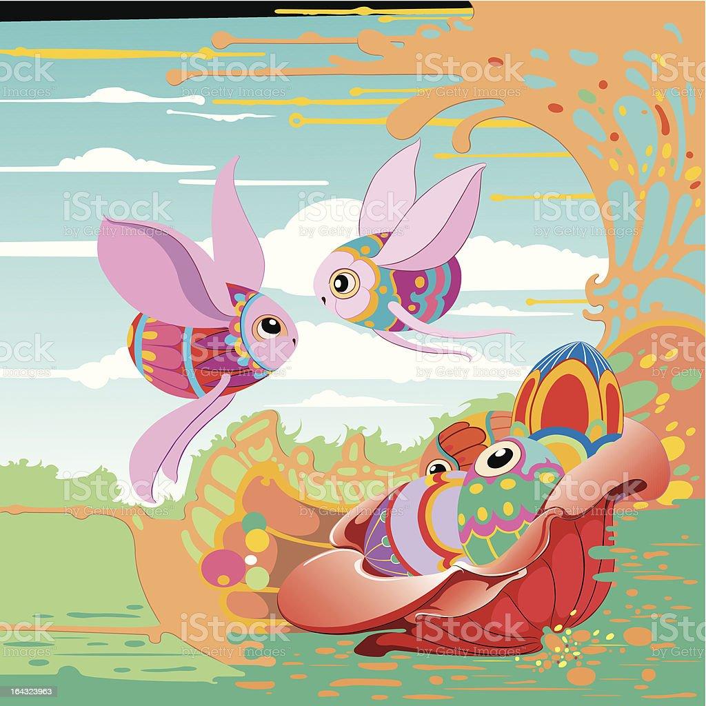 Eggs in wonderland vector art illustration