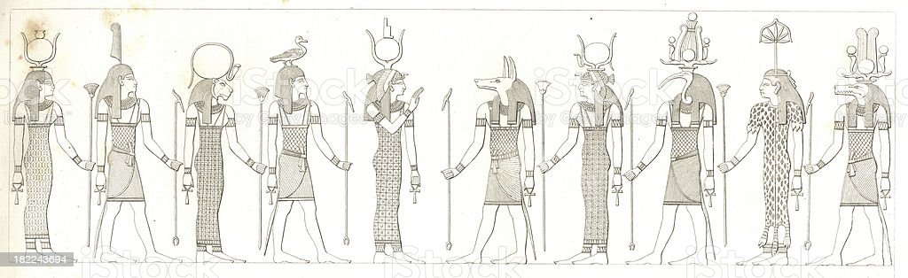Egyptian Gods | Antique History Illustrations royalty-free stock vector art
