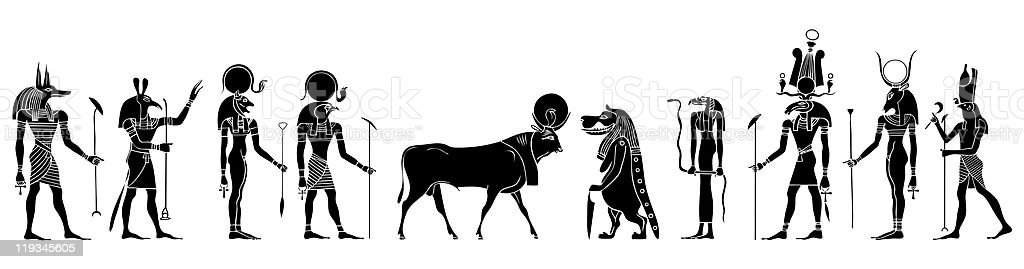 Egyptian gods, goddess, creatures and demons royalty-free stock vector art