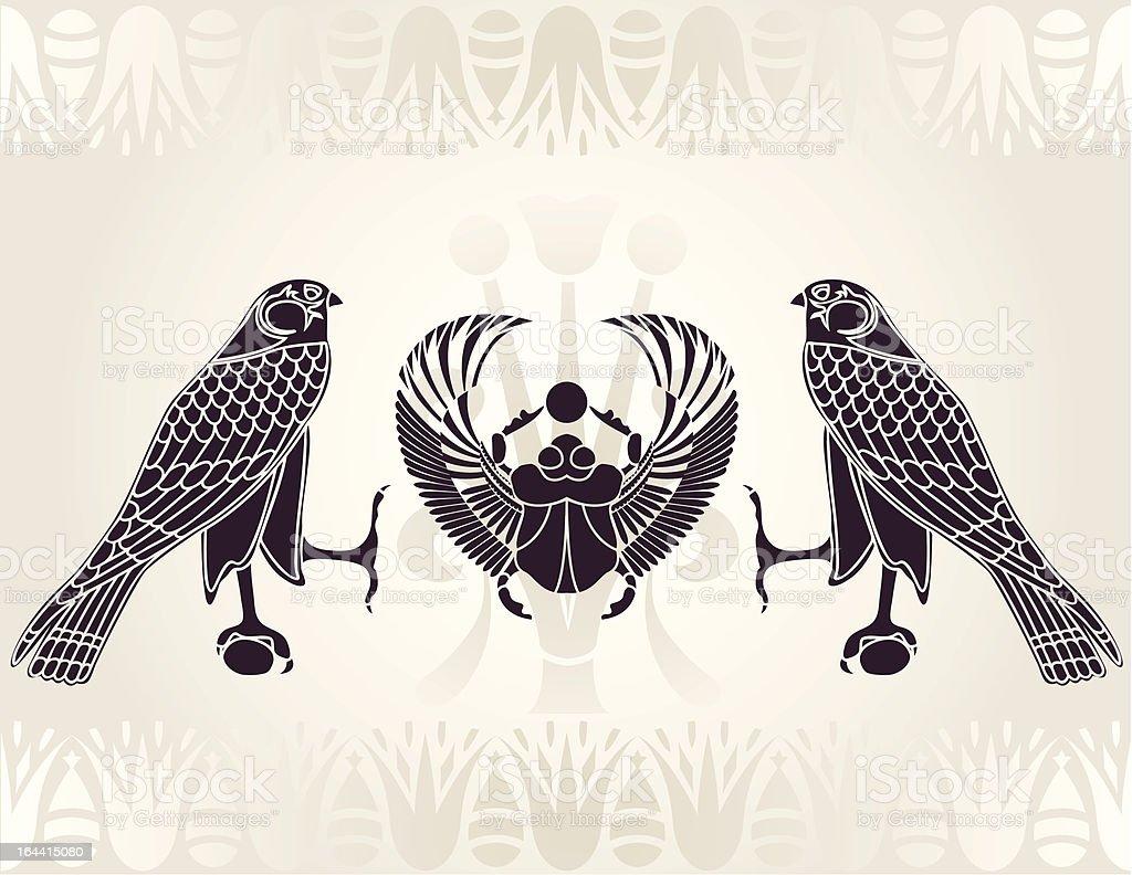 Egyptian Horus and Scarab stencil vector art illustration
