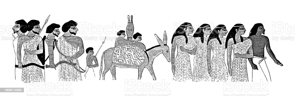Egyptian painting (antique wood engraving) royalty-free stock vector art