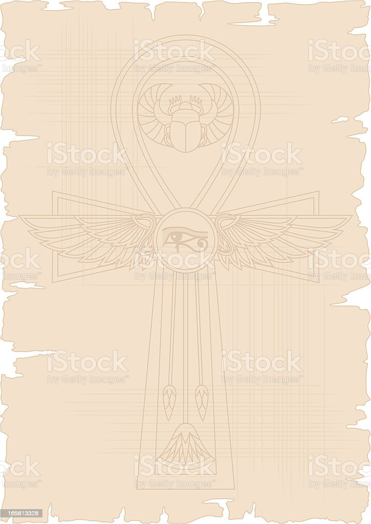 Egyptian Papyrus with Ankh royalty-free stock vector art