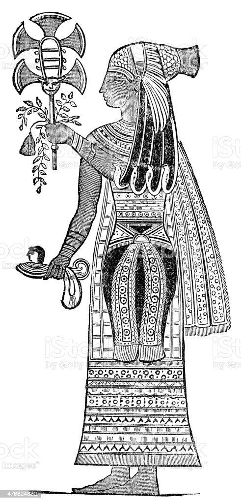 Egyptian Priestess vector art illustration