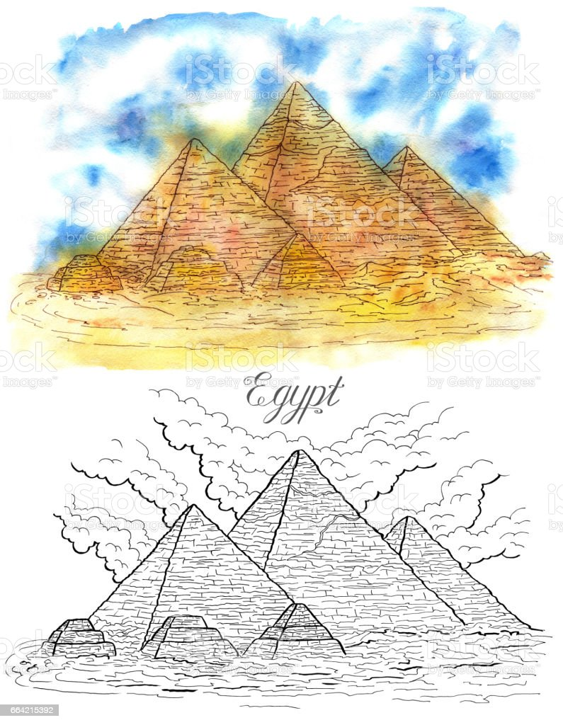 Egyptian pyramids in Giza vector art illustration