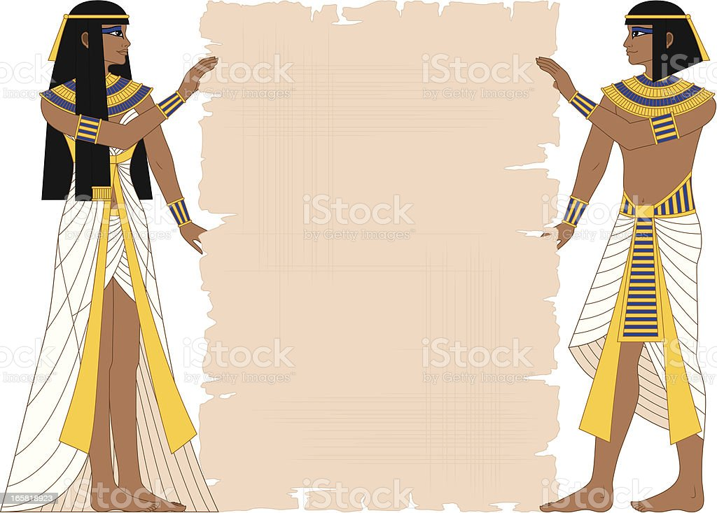 Egyptian Woman and Man Holding Papyrus vector art illustration