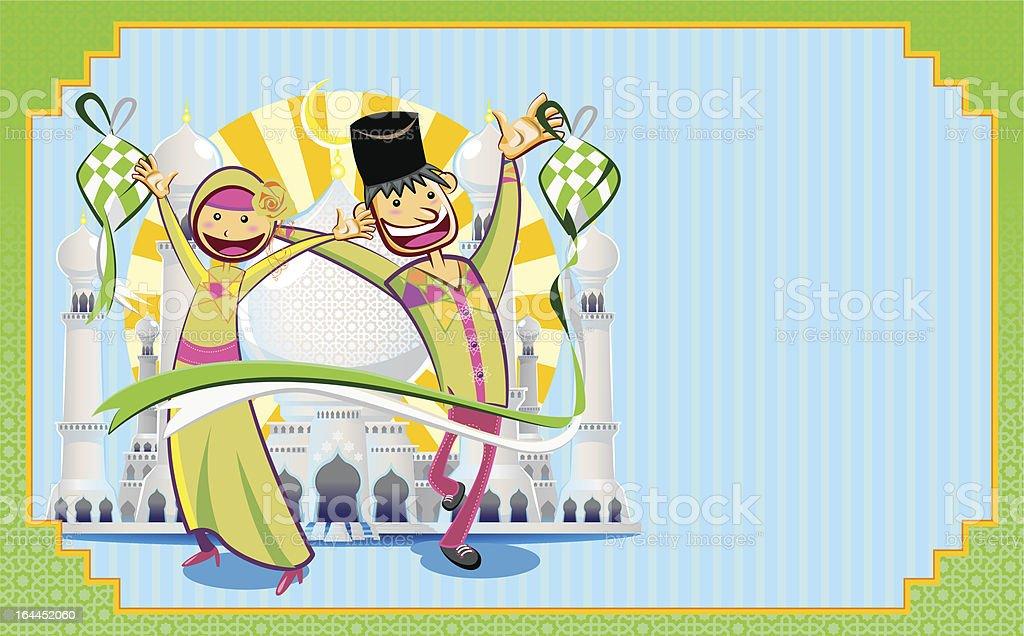 Eid Mubarak Greeting Card royalty-free stock vector art