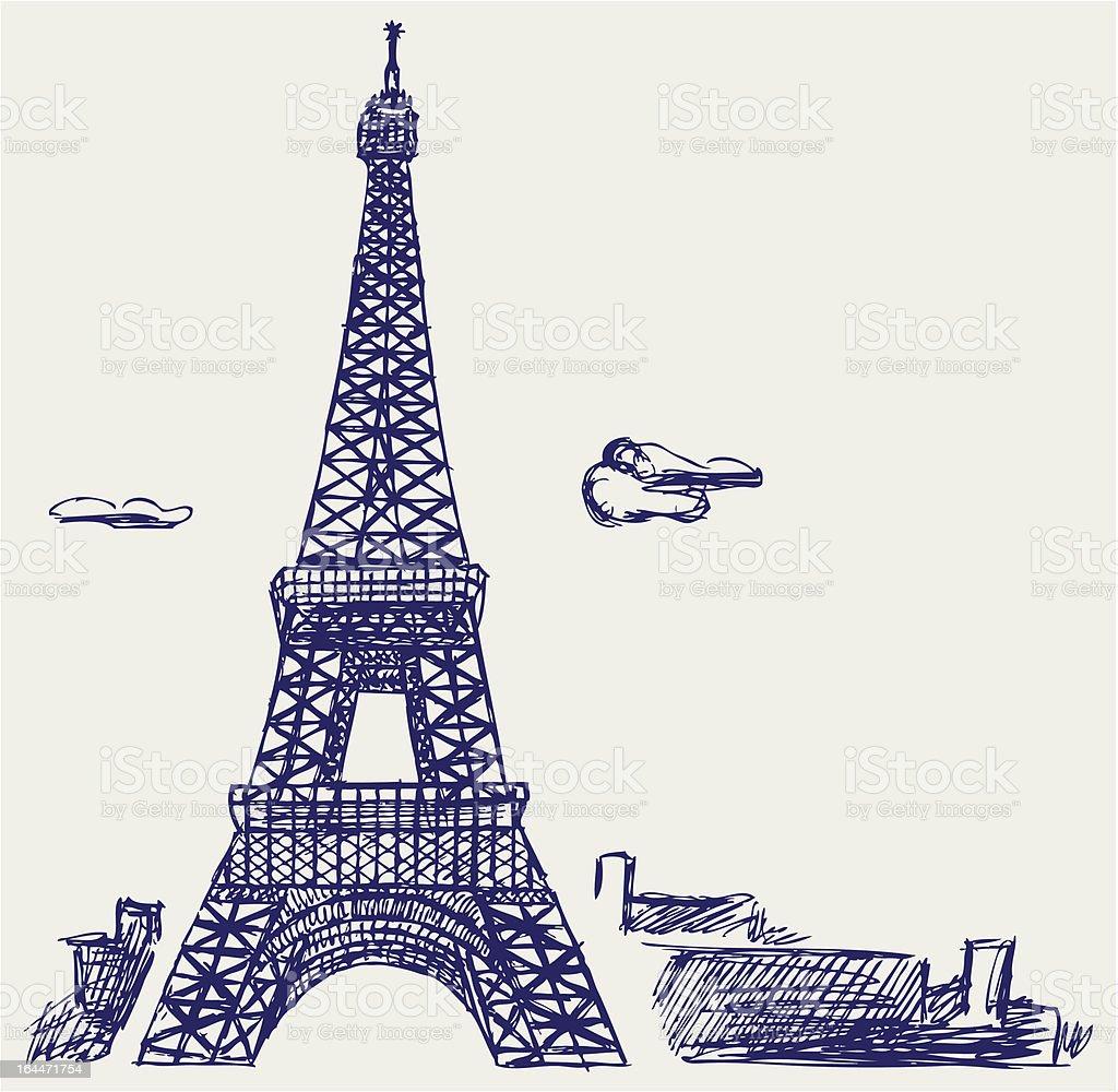 Eiffel Tower in Paris royalty-free stock vector art