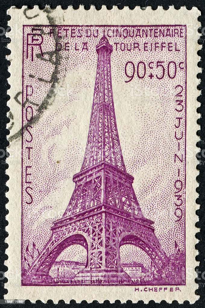 Eiffel Tower Stamp royalty-free stock vector art
