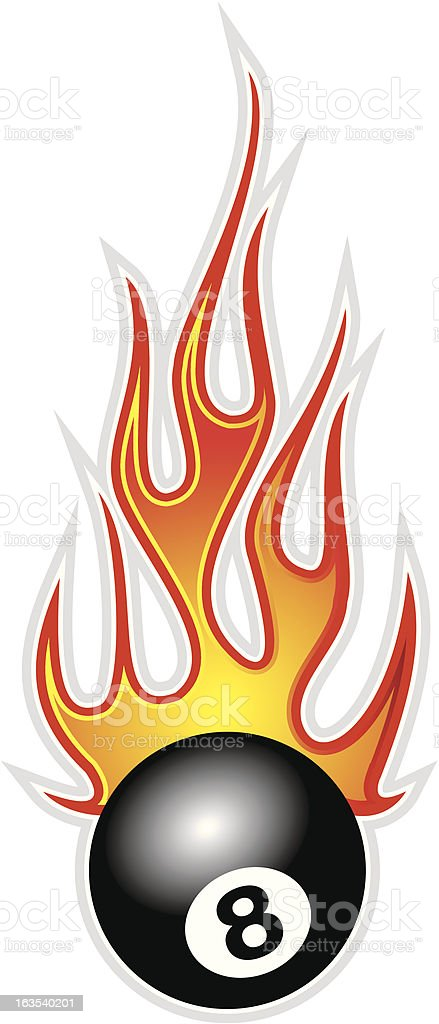 Eight ball with flames royalty-free stock vector art