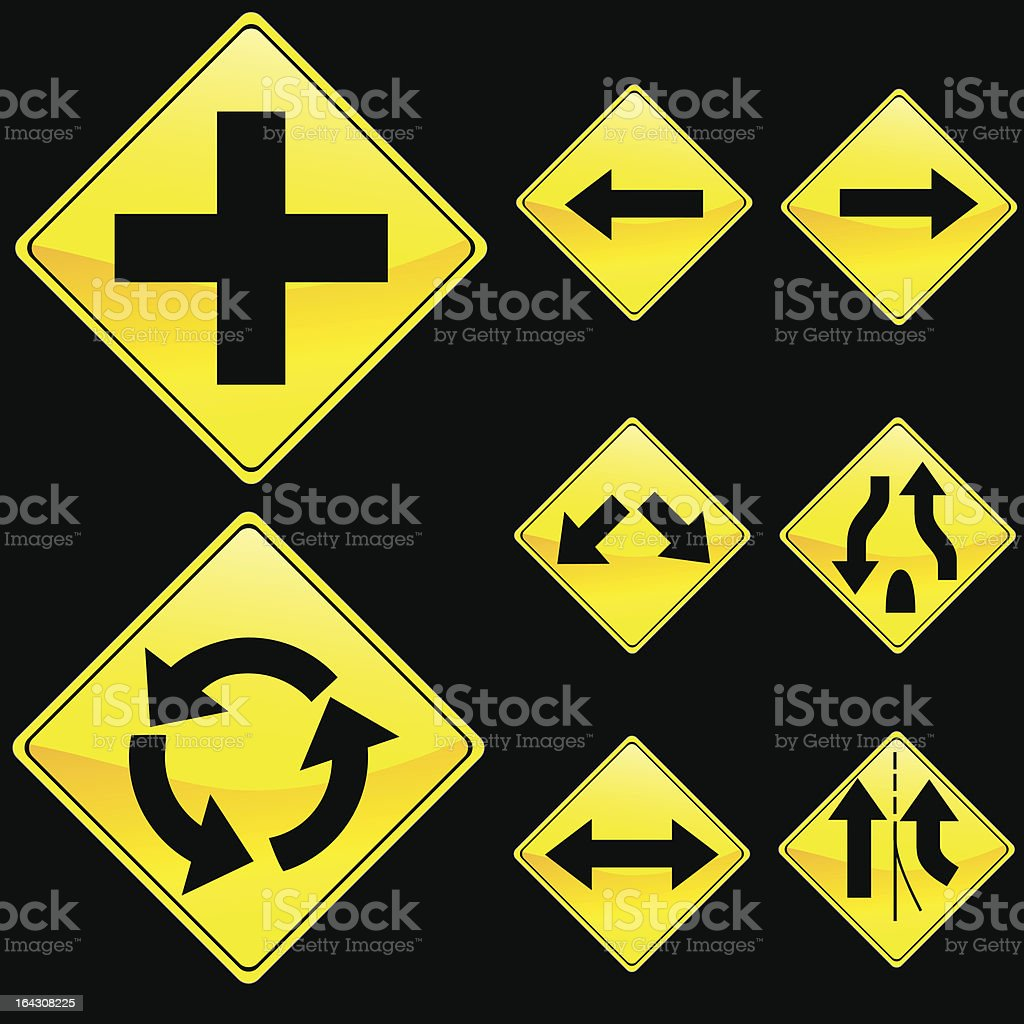 Eight Diamond Shape Yellow Road Signs Set 2 royalty-free stock vector art