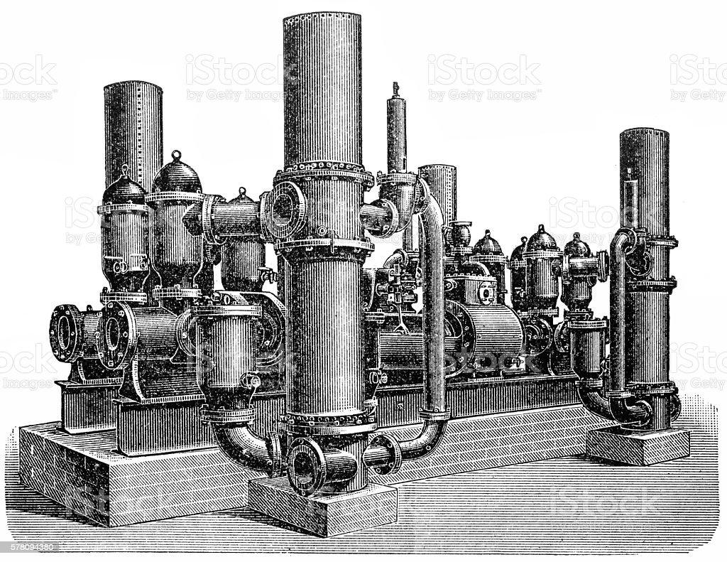 Eight-acting steam pump vector art illustration