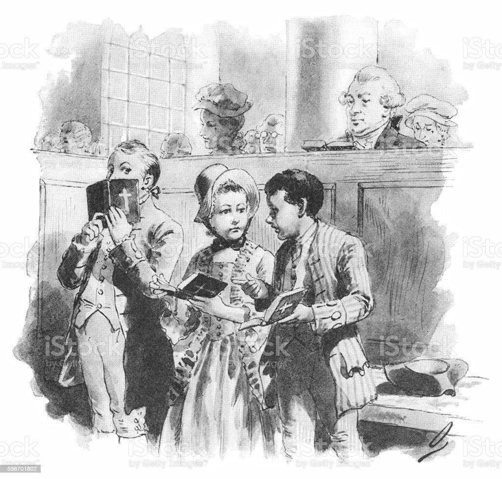 Eighteenth century American children talking in church vector art illustration