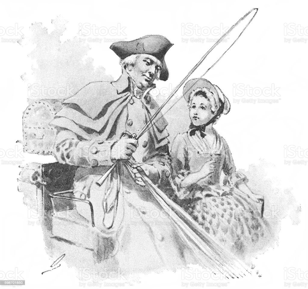 Eighteenth century American man and girl in a horse-drawn carriage vector art illustration