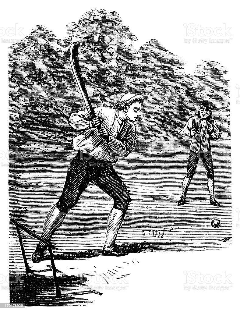 Eighteenth century batsman playing cricket vector art illustration