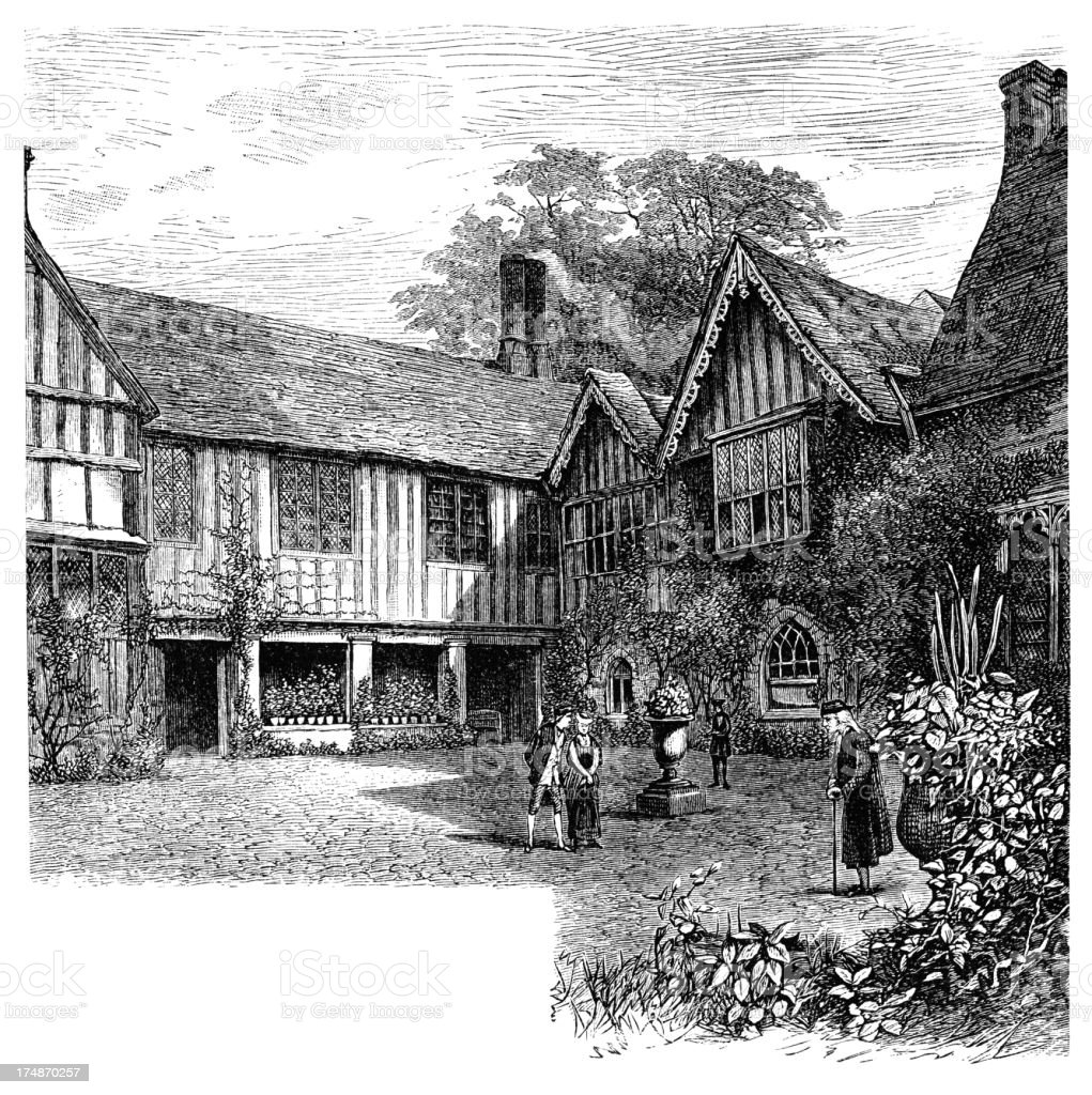 Eighteenth century characters at Ightham Mote (Victorian engraving) royalty-free stock vector art