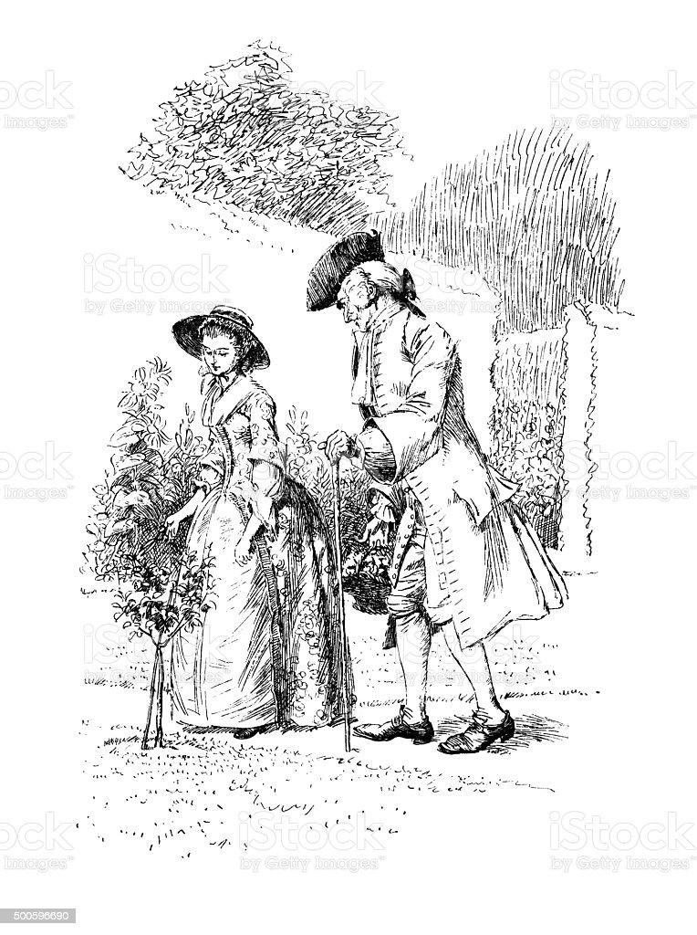 Eighteenth century couple walking in a garden vector art illustration