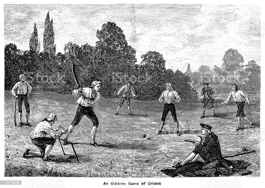 Eighteenth century cricket match vector art illustration