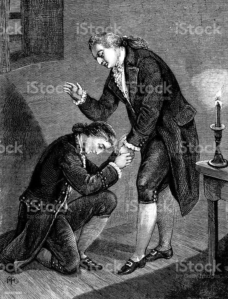 Eighteenth century man blessing another vector art illustration