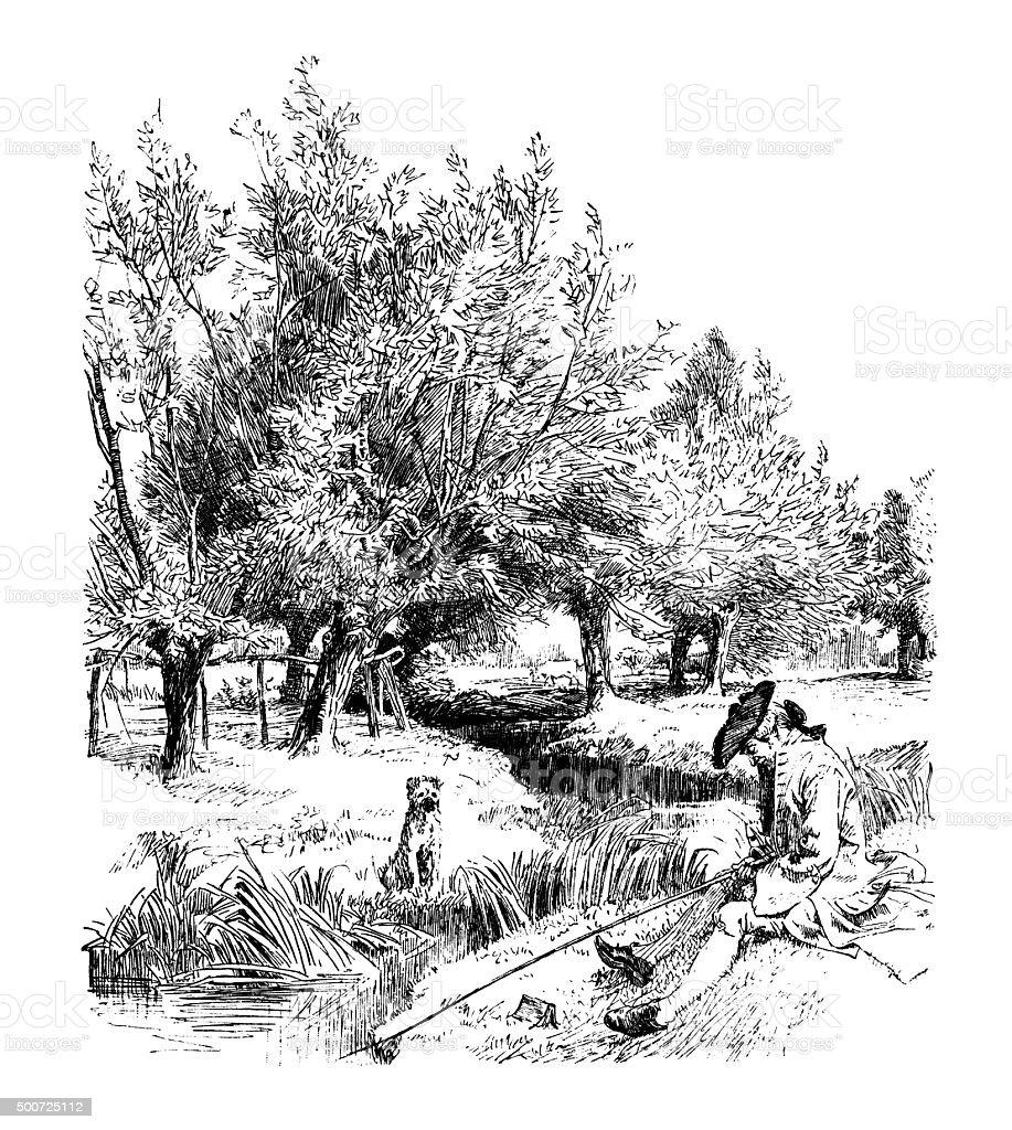 Eighteenth century man fishing in a stream vector art illustration