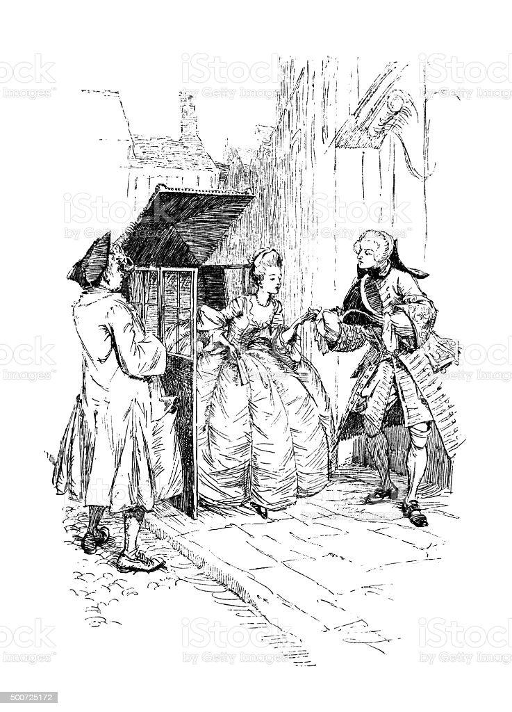 Eighteenth century man helping a lady from a sedan chair vector art illustration