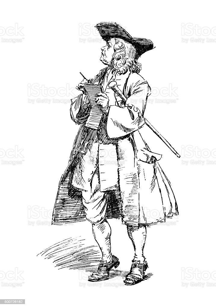 Eighteenth century man making notes in a notebook vector art illustration