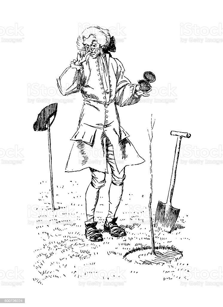 Eighteenth century man taking snuff in a garden vector art illustration