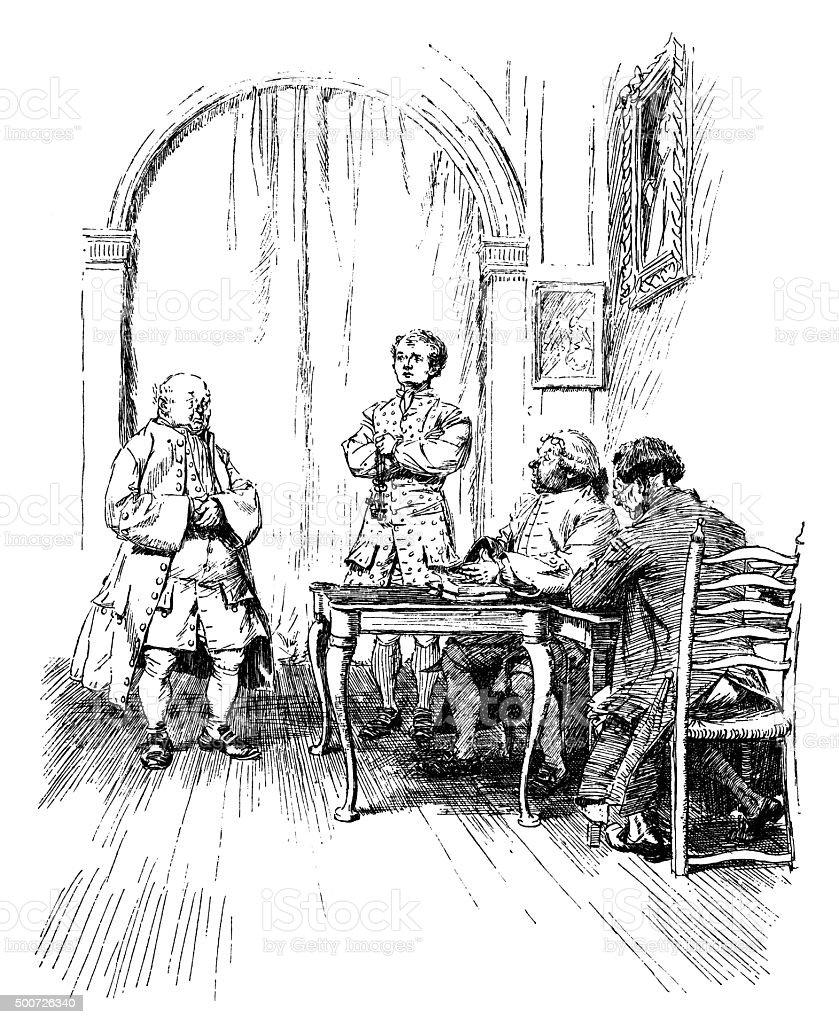 Eighteenth century men in serious discussion vector art illustration