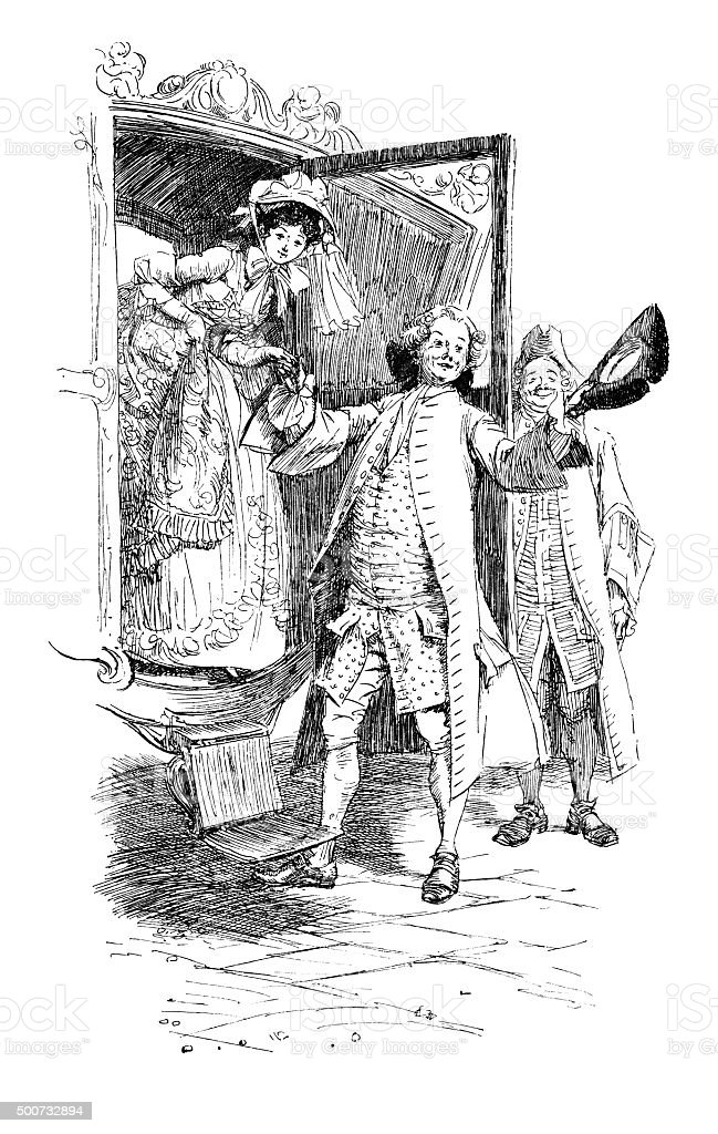 Eighteenth century people getting out of a coach vector art illustration