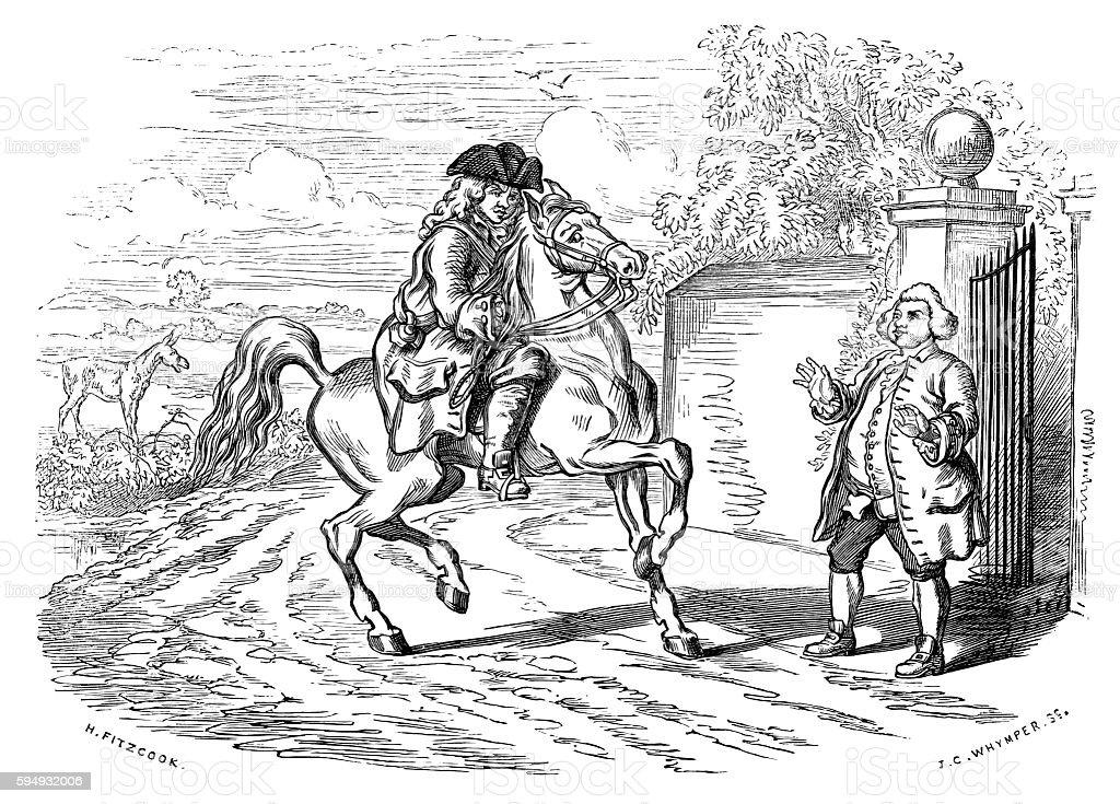 Eighteenth century rider arriving at house gates vector art illustration