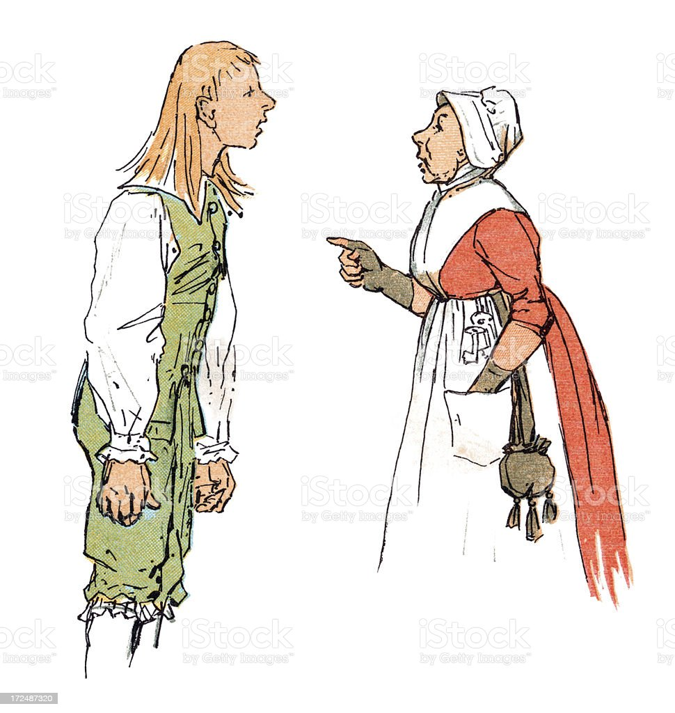 Eighteenth century teenager arguing with his mother royalty-free stock vector art