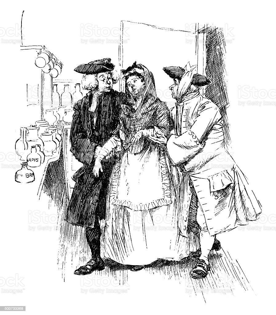 Eighteenth century woman being helped by two men vector art illustration