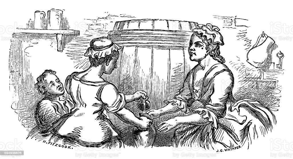 Eighteenth century woman pouring a drink from a barrel vector art illustration