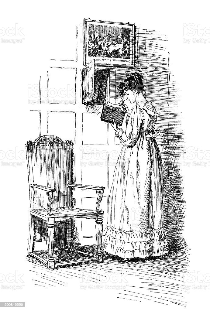 Eighteenth century woman taking a book from a cupboard vector art illustration