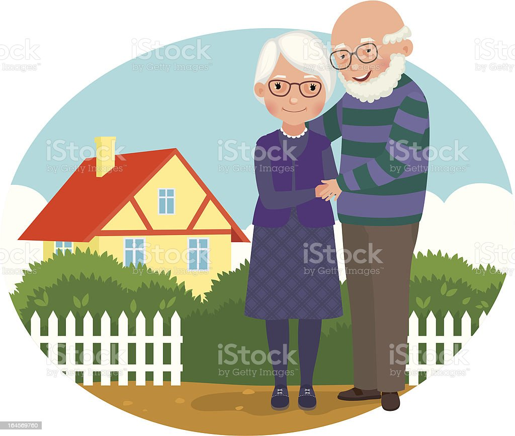 Elderly couple at their home vector art illustration