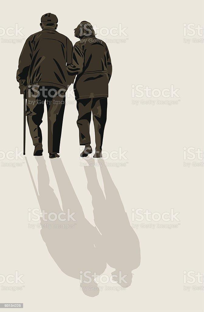 Elderly Couple Still In Love vector art illustration