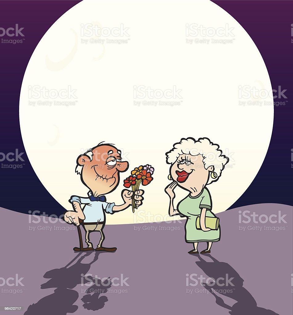 Elderly Love vector art illustration