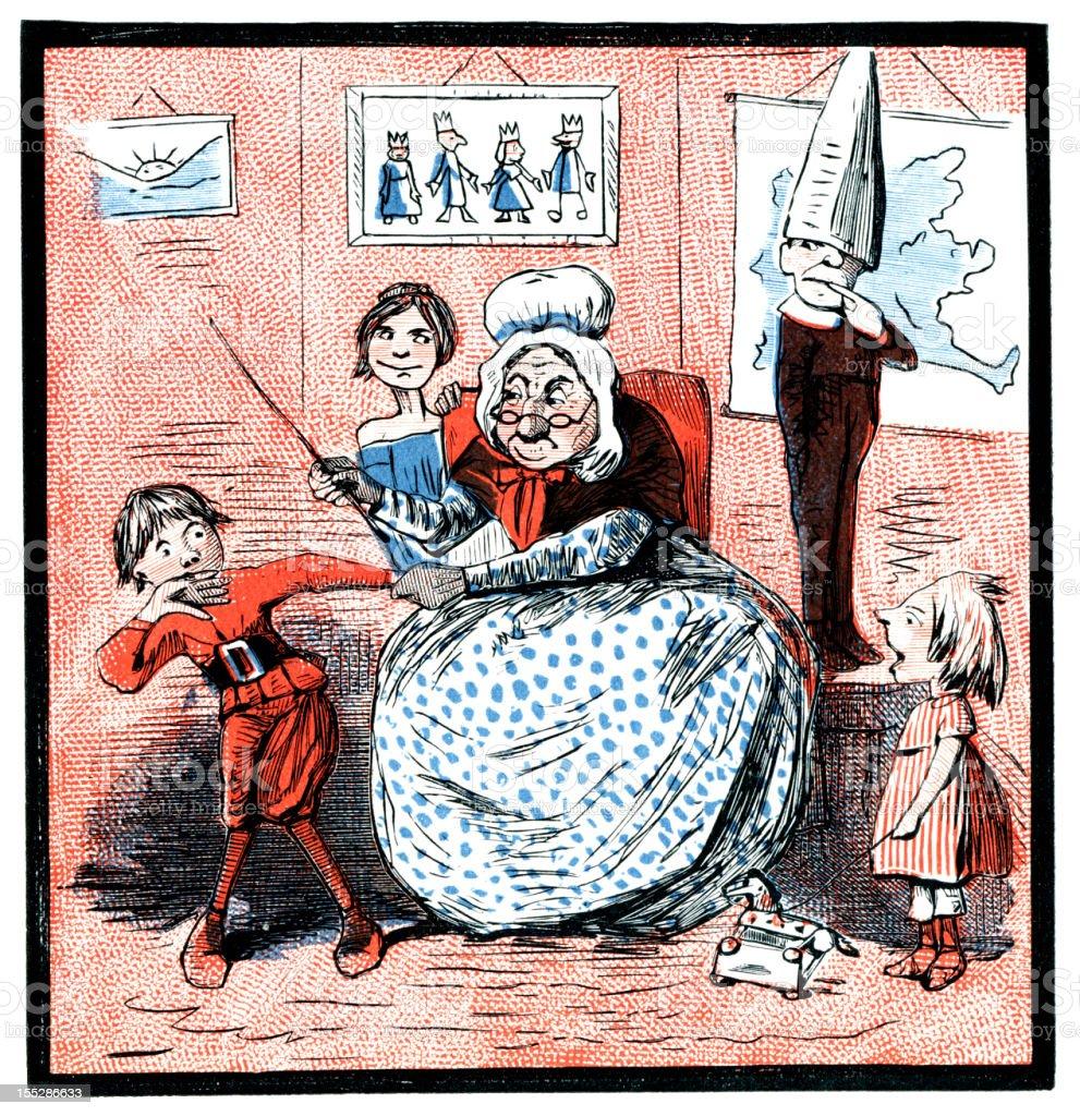 Elderly schoolma'am punishing a boy (Victorian cartoon) royalty-free stock vector art
