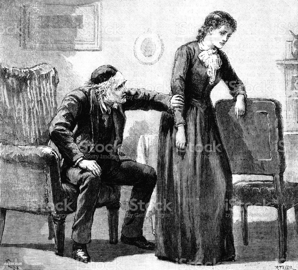 Elderly Victorian man gripping a woman by the arm vector art illustration