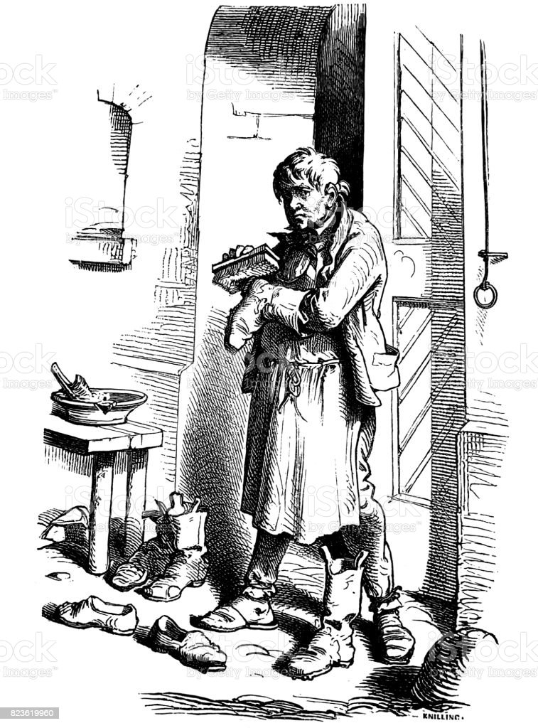 Eldery man is standing in front of his house door and is cleaning his shoes  - 1 867 vector art illustration